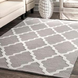 Handgefertigter Teppich Cheever aus Wolle in Grau