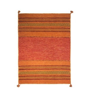 Handgefertigter Teppich Chinn aus Baumwolle in Orange