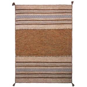 Handgefertigter Teppich Chinn aus Wolle in Braun
