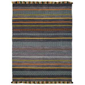 Handgefertigter Teppich Chiodo aus Wolle in Anthrazit