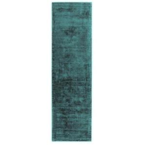 Handgefertigter Teppich Remmie in Blaugrün