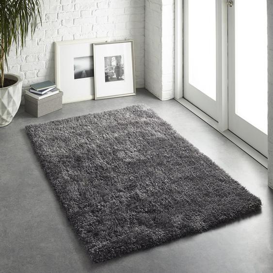 Handgefertigter Teppich Halley in Grau