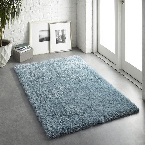 Handgefertigter Teppich Halley in Hellblau