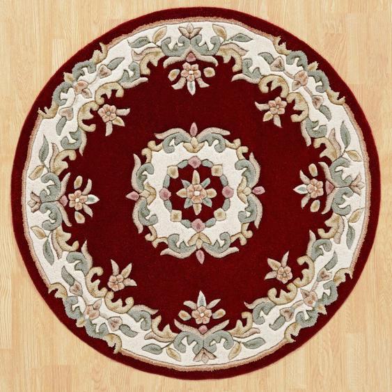 Handgefertigter Teppich Hounslow aus Wolle in Rot