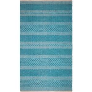 Handgefertigter Teppich Lakeview aus Baumwolle in Blau