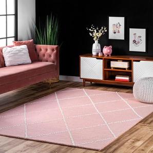 Handgefertigter Teppich Longchamps aus Wolle in Rosa