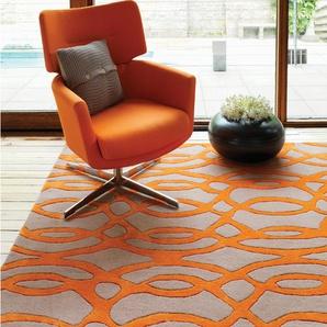 Handgefertigter Teppich Louise aus Wolle in Orange