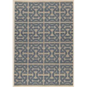 Handgefertigter Teppich Mali in Blau/Grau