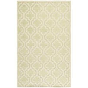Handgefertigter Teppich Noble aus Wolle in Hellgrün