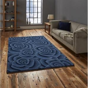 Handgefertigter Teppich Schulenburg aus Wolle in Blau