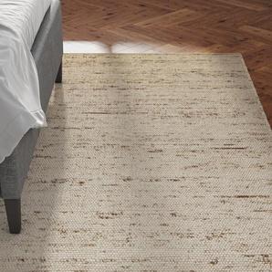 Handgefertigter Teppich Stan aus Wolle in Beige