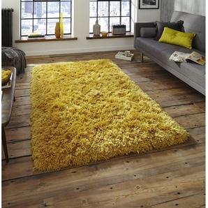 Handgefertigter Teppich Trevon in Gelb
