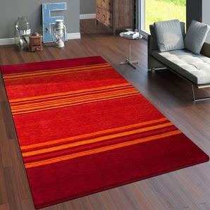 Handgefertigter Teppich Uinta aus Wolle in Rot