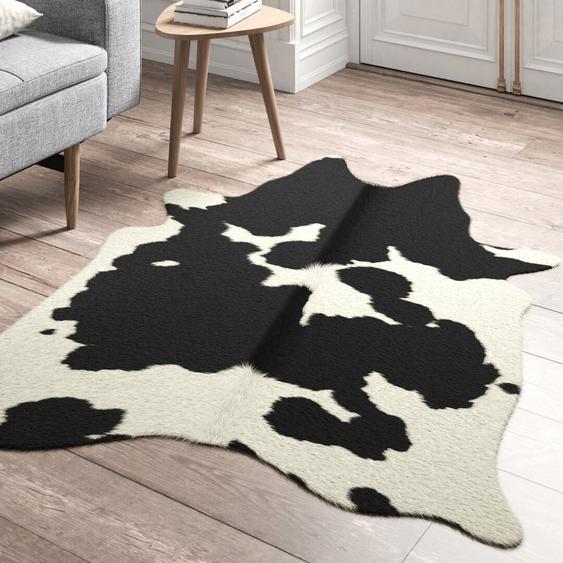 Handgefertigtes Kuhfell in Schwarz/Weiß