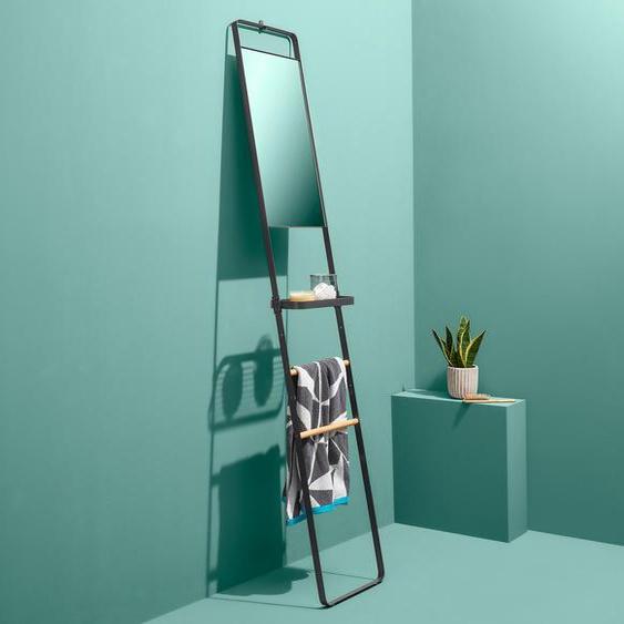 Handtuchregalleiter mit Spiegel - schwarz - Massivholz -