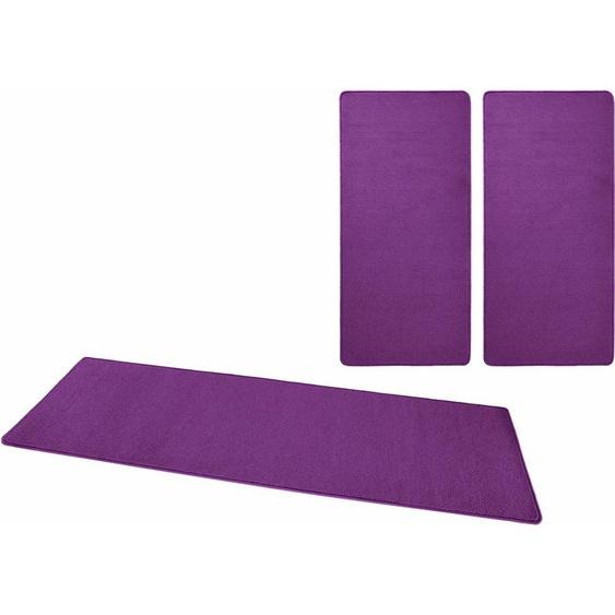 HANSE Home Bettumrandung Fancy, Kurzflor, gekettelt B/L (Brücke): 67 cm x 140 (2 St.) (Läufer): 240 (1 St.), rechteckig lila Bettumrandungen Läufer Teppiche