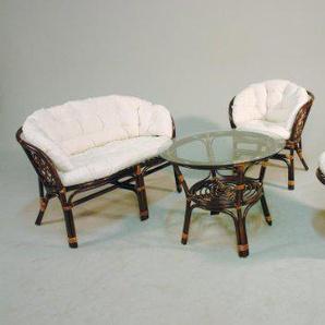 Hansen Rattan 1271/L Rattan Sitzgruppe 2 Sessel, 1 Bank und 1 Tisch, braun gebeizt