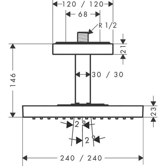 Hansgrohe Regendusche Axor Starck 240x240mm chrom mit Deckenanschlussstück 10929000