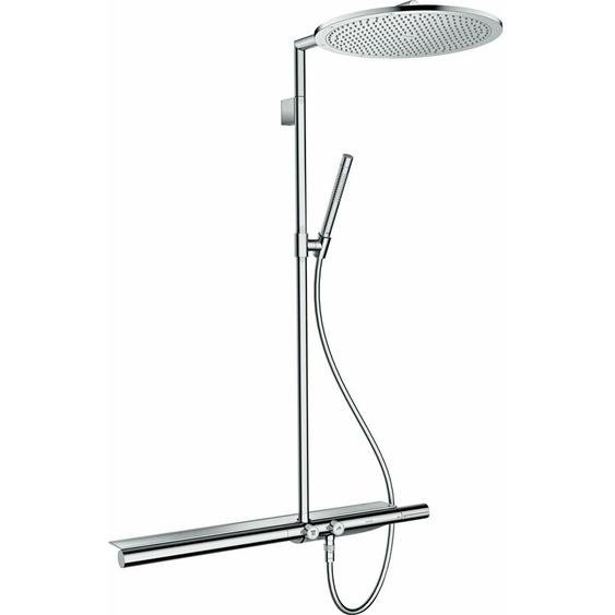 hansgrohe AXOR ShowerSolutions Showerpipe mit Thermostat 800 und Kopfbrause 350 1jet, Farbe: Brushed Nickel - 27984820
