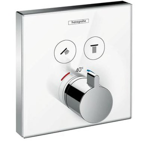 hansgrohe ShowerSelect Glas Unterputz Thermostat, 2 Verbraucher, weiß/chrom