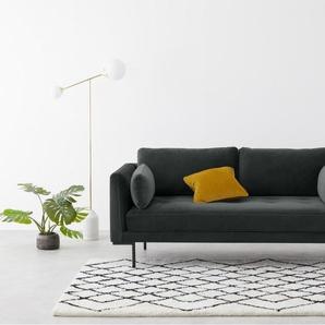 Harlow breites 2-Sitzer Sofa, Samt in Nachtgrau