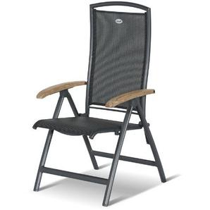 Hartman Multipositionssessel Raffaelo, Gartensessel in anthrazit, Garten-Stuhl aus Aluminium Alu, Klappsessel mit Textilene-Bezug, FSC-Teak-Armlehnen