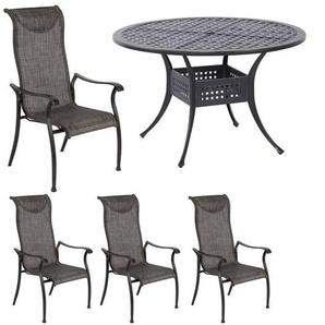 Hartman Palermo Gartenmöbelset 5tlg Tisch Ø120cm Riven Grey