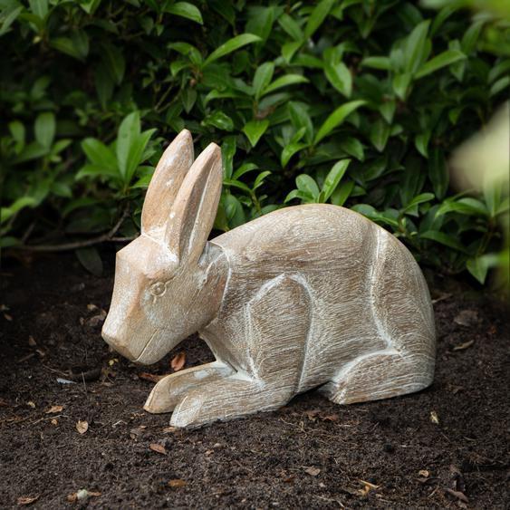 Hasen Figur Gartenfigur Holzfigur Tiere Tierfiguren Dekoration - 22 cm x 26,5 cm