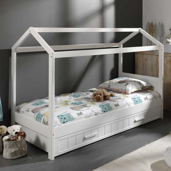 Haus Kinderbett in Weiß Bettkasten