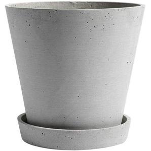 HAY - Blumentopf mit Untersetzer - grau - XL - indoor