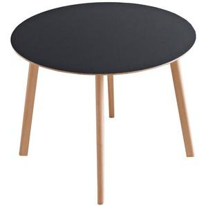 HAY - Copenhague Deux CPH 220 Tisch - Platte weiss - Gestell Eiche matt lackiert - Ø 98 cm - indoor