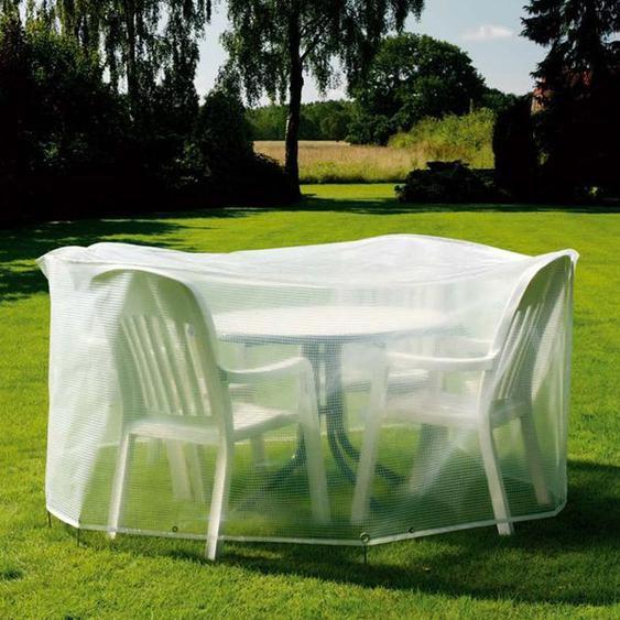 Heinemeyer Schutzhülle 200cm rund für Tischgruppe, Gitterfolie transparent Weiß