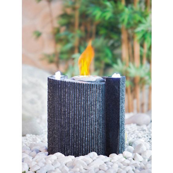 Heissner Gartenbrunnen Indy Fire mit LED aus Granit