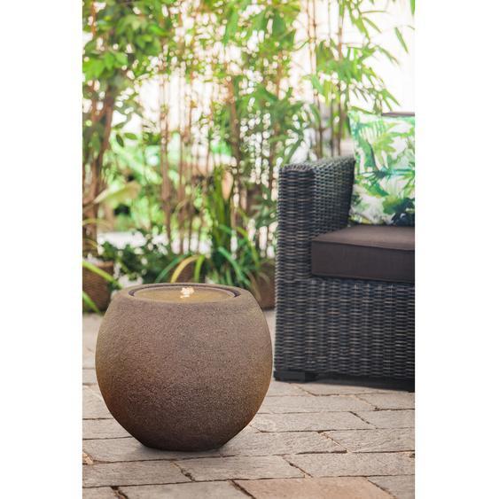 Heissner Terrassenbrunnen-Set Ball Grey LED Terracotta