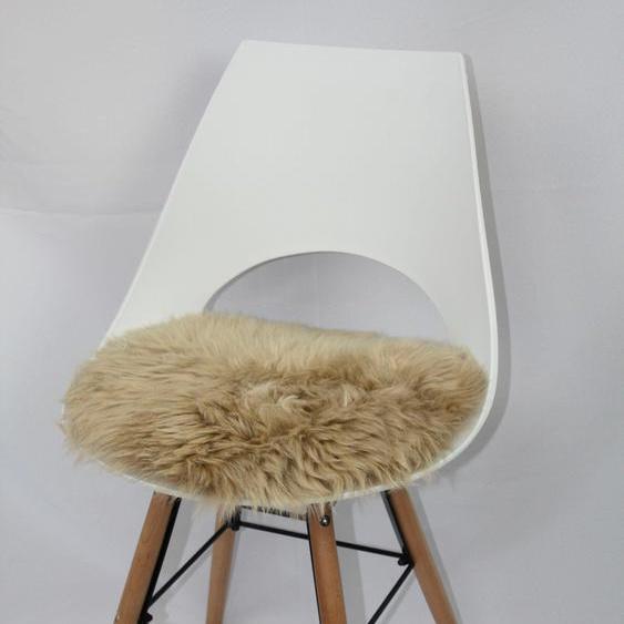 Heitmann Felle Stuhlkissen Sitzauflage Lamm rund, echtes Lammfell 41, 1x 45x45 cm, beige Sitzkissen Kissen Kopfkissen