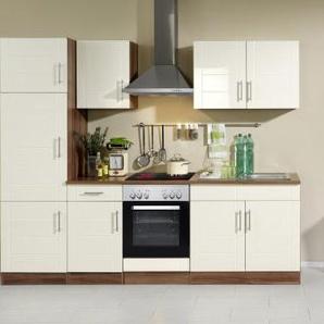 Held Möbel 645.6034 Küchenzeile 270 in Hochglanz-creme / nussbaum