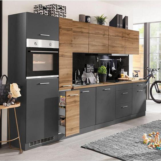 HELD MÖBEL Küchenzeile »Kehl«, mit E-Geräten, Breite 330 cm, wahlweise mit Induktionskochfeld, Energieeffizienz: D