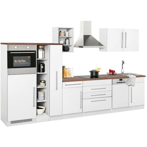 HELD MÖBEL Küchenzeile mit E-Geräten »Samos«, Breite 350 cm mit Stangengriffen aus Metall