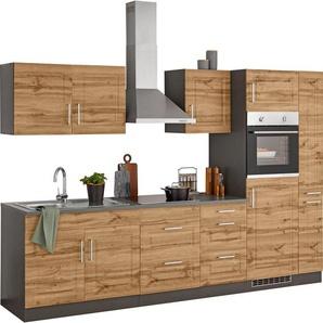 HELD MÖBEL Küchenzeile »Stockholm«, ohne E-Geräte, Breite 300 cm, mit hochwertigen MDF Fronten im Landhaus-Stil