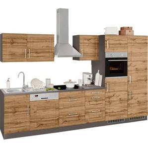 HELD MÖBEL Küchenzeile »Stockholm«, ohne E-Geräte, Breite 340 cm, mit hochwertigen MDF Fronten im Landhaus-Stil