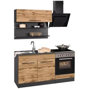 HELD MÖBEL Küchenzeile »Tulsa«, mit E-Geräten, Breite 160 cm, schwarze Metallgriffe, hochwertige MDF Fronten