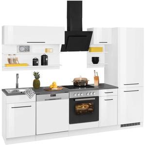 HELD MÖBEL Küchenzeile Tulsa, ohne E-Geräte, Breite 270 cm, schwarze Metallgriffe, hochwertige MDF Fronten B: cm weiß Küchenmöbel