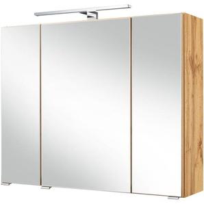 HELD MÖBEL Spiegelschrank »Malibu«, Breite 80 cm, mit LED-Beleuchtung
