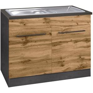 HELD MÖBEL Spülenschrank »Tulsa« 100 cm breit, 2 Türen, schwarzer Metallgriff, hochwertige MDF Front, inkl. Einbauspüle aus Edelstahl