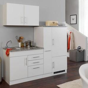 HELD Singleküche »Toronto«, 190 cm, 2er Kochmulde, Kühlschrank, Apothekerschrank