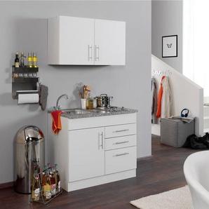 HELD Singleküche »Toronto«, B 100 cm, 2er Kochmulde, Hängeschrank, Spülenschrank