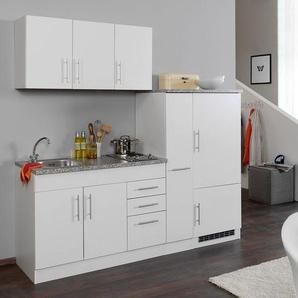 HELD Singleküche »Toronto«, B 210 cm, mit 2er Kochmulde, Kühlschrank, Apothekerschrank