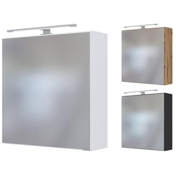 HELD Spiegelschrank »Dover«, mit 1 Spiegeltür, 2 Einlegeböden, inklusive LED-Aufbauleuchte