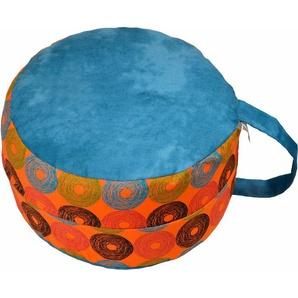 Mediations-/Yogakissen, »6520 blau/Retrokreise orange«, Herbalind
