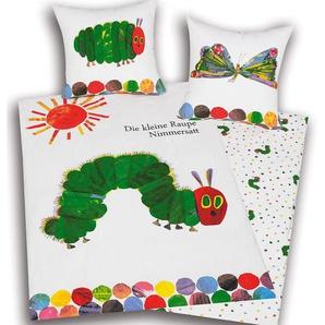 Herding Wende-Kinderbettwäsche Kleine Raupe Nimmersatt Linon 135 x 200 cm